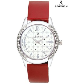 Adixion White Round Dial Analog Synthetic Leather Watch For Women's