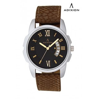 Adixion Synthetic Leather Analog Black Dial Watch For Men's