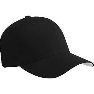 Solid Black Caps Hats For Sports Tennis Cap Cool Trendy Free Size For Men Women