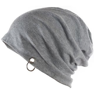 NEW Men Beanie Baggy Slouchy cap hat with Ring thin winter/fall Hat Grey