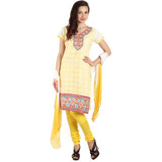 Parchayee White Poly Cotton Printed Unstitched Dress Material