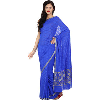 Satrang Blue Silk Self Design Saree With Blouse