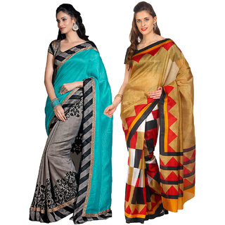 Parchayee Beige,Green Art Silk Printed Saree With Blouse (Pack of 2)