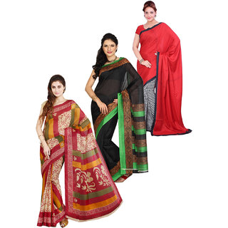 Parchayee Multicolor Poly Cotton,Art Silk Solid Saree With Blouse (Pack of 3)