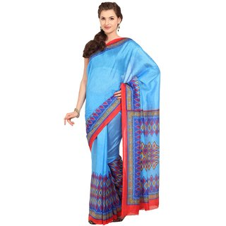 Parchayee Blue Art Silk Printed Saree With Blouse