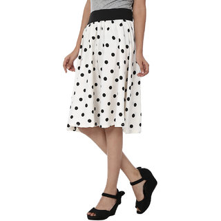SMART AND GLAM A-LINE WOMENS SKIRT White S
