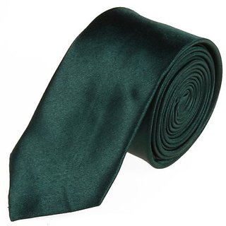 Plain Satin Dark Green Slim Tie