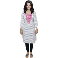 Indistar Women's Pure Cotton White And Black Printed Kurti