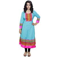 Indistar Women's Pure Cotton Blue Printed Kurti
