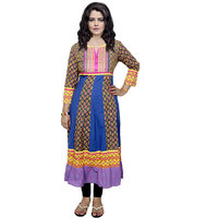 Indistar Women's Pure Cotton Blue And Yellow Printed Kurti