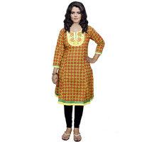 Indistar Women's Pure Cotton Yellow Printed Kurti