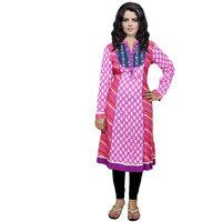 Indistar Women's Pure Cotton Pink Printed Kurti