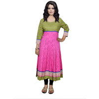 Indistar Women's Pure Cotton Pink And Green Printed Kurti