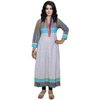 Indistar Women's Pure Cotton White And Blue Printed Kurti
