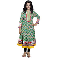 Indistar Women's Pure Cotton Green Embroidered Kurti
