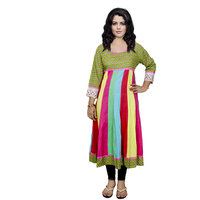 Indistar Women's Pure Cotton Green And Pink And Yellow Printed Kurti