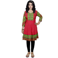 Indistar Women's Pure Cotton Red Printed Kurti