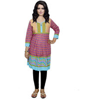 Indistar Women's Pure Cotton Red And Blue Printed Kurti
