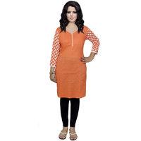 Indistar Women's Pure Cotton Orange Printed Kurti