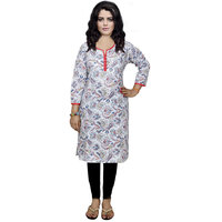 Indistar Women's Pure Cotton White And Red Printed Kurti