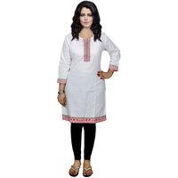 Indistar Women's Pure Cotton White Printed Kurti