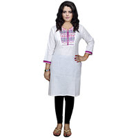 Indistar Women's Pure Cotton White And Purple Embroidered Kurti