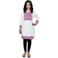 Indistar Women's Pure Cotton White And Pink Printed Kurti