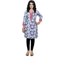 Indistar Women's Pure Cotton Purple And Pink Printed Kurti
