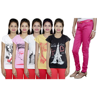 IndiWeaves Women's T-Shirts and Trouser (Size - 30) Combo Pack (Pack of  5 T-Shirt With 1 Women's Trouser)