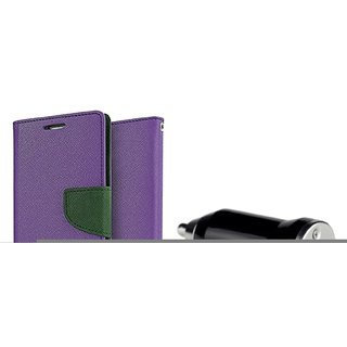 SAMSUNG NOTE 2 (7100) WALLET FLIP CASE COVER(PURPLE) With CAR ADAPTER
