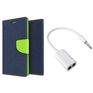 HTC 620 WALLET FLIP CASE COVER(BLUE) With AUX SPLITTER