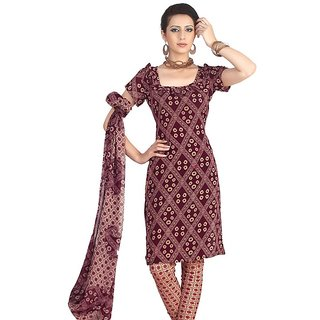 Fabdeal Printed Purple French crepe Salwar Kameez