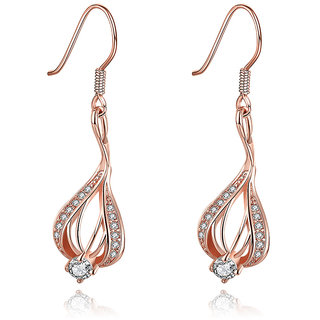 Glitz Fashion 18K Rose Gold Plated Designer Dangle  Drop Earrings