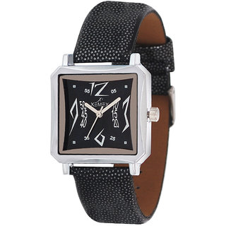Xemex Black Dial Analog Synthetic Leather Watch For Women's
