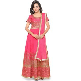 Thankar Pink  Beige Embroidered Banglori Silk Anarkali Suit