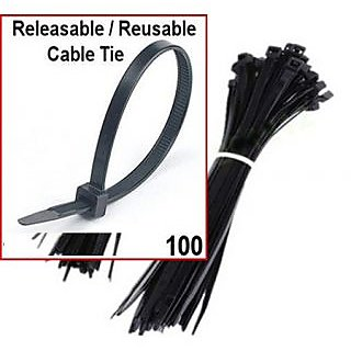 6inch RELEASABLE REUSABLE CABLE TIES ZIP TIES BLACK