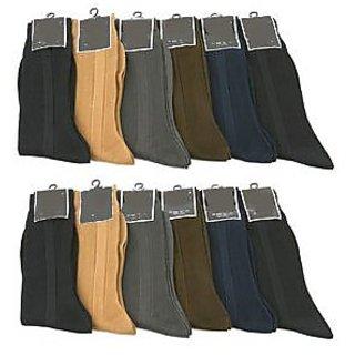 12 Pair Men COLORS Ribbed Formal Wear Dress Socks