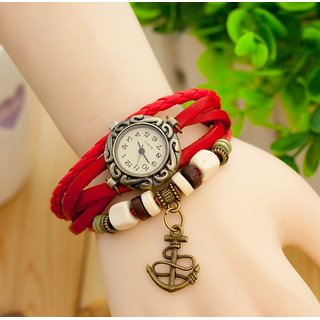 Red Leather Strap Watch Hand-knitted Leather Watch Women' Watches
