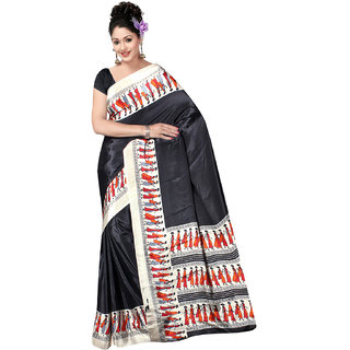 DesiButik's  Black Crepe Saree with Blouse VSM3303N