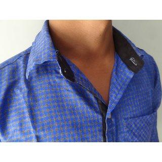 WINGS Men's Party Wear Shirt Blue