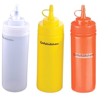 Godskitchen Squeeze Bottles Clear Red Yellow 24oz