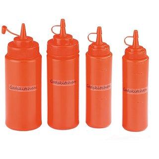 Godskitchen Squeeze Bottle Red Set of 8oz 12oz 16oz 24oz