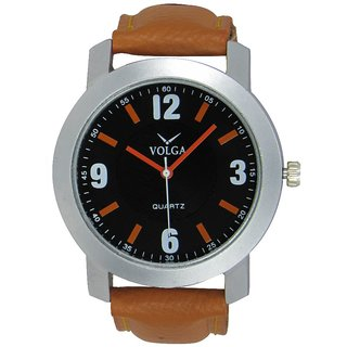 Volga Brown Leather Analog Watch For Men