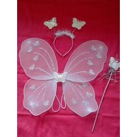 White Color Wing Costume With Magic Stick Hair Band For Baby Girl Angel For Birthday Party Gift