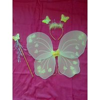 Yellow Color Wing Costume With Magic Stick Hair Band For Baby Girl Angel For Birthday Party Gift