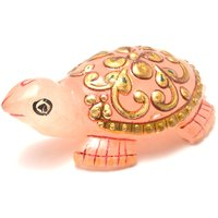 Mahna Original Rose Quartz Gold Painted Tortoise/Kachhua Statue 42-53 Gm(Free Five Mukhi Rudraksha)