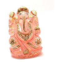 Mahna Natural Lord Ganesh Idol(Murti) Figurine Rose Quartz Stone Gold Painted 287 Gm (Free Five Mukhi Rudraksha)