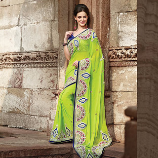 IshiMaya Beige and Blue Lehenga Saree Design 1