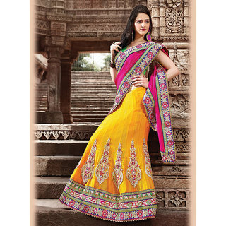IshiMaya Beige and Blue Lehenga Saree Design 2