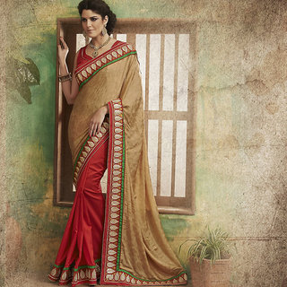 IshiMaya Beige and Red Designer Party wear Saree